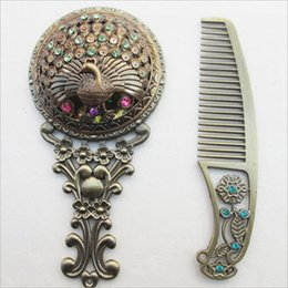 Cosmetic Hair Combs Australia - Classic Held Hand Mirror With Hair Comb Retro Vintage Makeup Mirror Compact Copper Golden Hollow Out Cosmetic