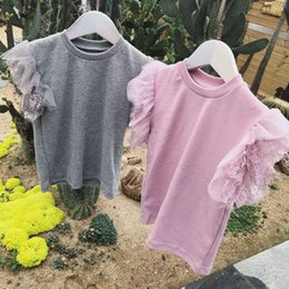 $enCountryForm.capitalKeyWord NZ - Baby Girls Lace Petal T-shirts Pure Color Sweet Fairy Toddlers Kids Summer Tees Short-sleeved Girls Clothes Tops Y19051003