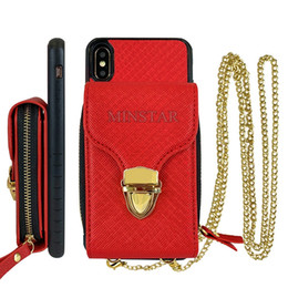 $enCountryForm.capitalKeyWord NZ - Luxury Wallet Handbag Case for iPhone XS Max XR X 8 Plus 7 6S S9 Note 9 Card Holder Shoulder Bag Metal Chain
