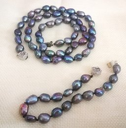 blue pearl jewelry sets NZ - Women Jewelry set 17'' 43cm necklace 9x10mm black blue gray purple baroque pearl handmade bracelet natural freshwater pearl