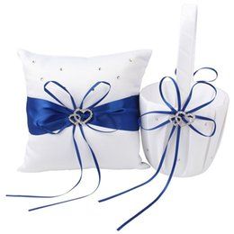Ring Flowers Australia - Basket Pillow Set Bowknot Flower Girls Baskets And Ring Pillows Suit For Wedding Decoration Accessories Party Supplies