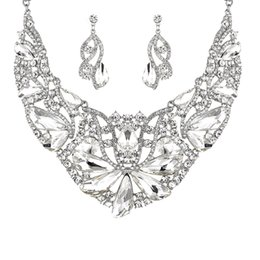$enCountryForm.capitalKeyWord UK - Noble Crystal Bridal Jewelry Sets Silver Fashion Wedding Jewelry Tiara Necklace Earrings for Brides Bridesmaids Jewelry Sets Hot