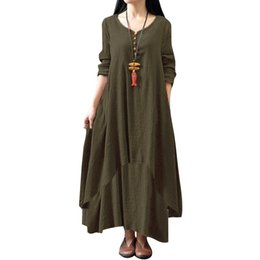 $enCountryForm.capitalKeyWord Australia - Size Women Dress For Plus Xxxl 4xl 5xl Fashion Women Casual Loose Dress Solid Color Long Sleeve Boho Long Maxi Dress designer clothes