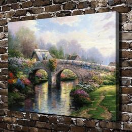 $enCountryForm.capitalKeyWord Australia - Thomas Kinkade,Blossom Bridge,1 Pieces Canvas Prints Wall Art Oil Painting Home Decor (Unframed Framed) 18x24