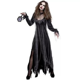 $enCountryForm.capitalKeyWord UK - Ladies Halloween Gothic Horror Zombie Vampire Costume Black Gruesome Ghost Dress Scary Clothing For Female Women