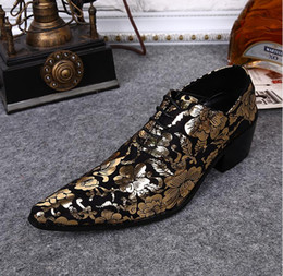 designer tuxedos men NZ - Gold Lace Pointed Toe Men Designer Dress Shoes Increased Printed Shoes for men Party Tuxedo Men's Shoes da024