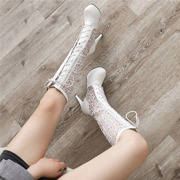 white lace tie up heels NZ - YMECHIC 2019 Autumn Sexy Platform Thin High Heels Lace Mesh Riding Boots Cross Tied Lace Up Long Gladiator Sandal Boots Big Size
