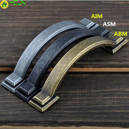 "Bronze Handle Pulls Australia - 76mm Rustico Retro Furniture Handles Antique Iron Drawer Cabinet Pull Knob Black Antique Brass   Bronze Dresser Door Handle 3"""