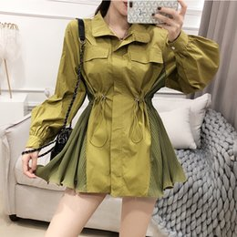 Wholesale ladies white trench coat for sale - Group buy 2020 spring Fall trench coat Women Ruffles Vintage Elegant Patchwork Windbreaker Ladies Fashion Coat Streetwear Bomber FY65