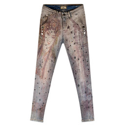 Jeans star pant new online shopping - Denim Pants Painted Bronzing Jeans Woman Spring Autumn New Women Fashion star Printing Jeans
