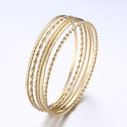 Wholesale Gifts Gold Wire NZ - New 6PC SET Gold Silver Color Bangles Bracelets For Women 70mm Metal Wire Big Circle Hoop Personality Bangle Jewelry Party Gift