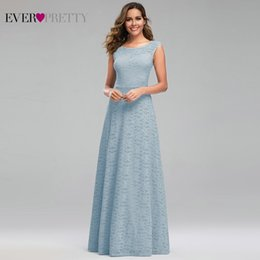 pretty lace bridesmaid dresses NZ - Ever Pretty Blue Lace Bridesmaid Dresses A-Line O-Neck Sleeveless Women Formal Dresses For Wedding Party Robe Longue