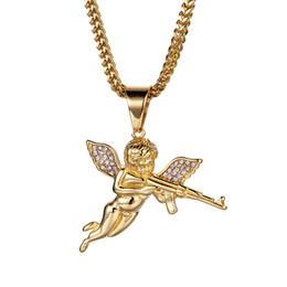 $enCountryForm.capitalKeyWord Australia - Machine Gun Angel Pendant Necklaces Alloy Imitation Gold Necklaces For Party Bar Hiphop Cube Necklace For Men Designer Accessories Hot