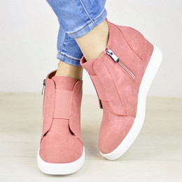 nice sneakers Australia - Puimentiua Nice Sneakers Shoes Women Platform Woman Autumn High Top Female Casual Shoes Wedge Side Zipper