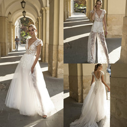 Plus Size V Neck Jumpsuit Australia - 2019 New Wedding Jumpsuits With Detachable Skirts Lace Applique Deep V Neck A Line Bridal Gowns Custom Made Beach Wedding Dress Plus Size