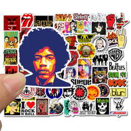 rock band stickers 2019 - Computer Stickers 52 Sheets Rock ROCK Band Sticker Doodling Waterproof Skate Personality Trunk Paster Factory Direct Sel