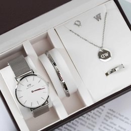 Discount womens valentines gifts - DW Womens Stainless Steel Strip Dial 36mm Quartz Watches and Jewelry 5 Pieces Per Set With Gift Box Daniel Wellington Fo