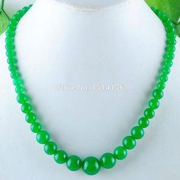$enCountryForm.capitalKeyWord NZ - WOJIAER New Fashion Jewelry Green Jades Gem Stone Round 6~14mm Beads Women Necklace 17.5 Inches LF3000