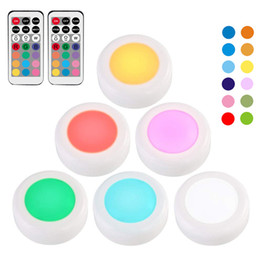 $enCountryForm.capitalKeyWord NZ - RGB 12 Colors LED Under Cabinet Light Dimmable Touch Sensor LED Puck Lights For Cupboard Close Wardrobe Stair Hallway Night Lamp