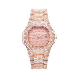 Diamond Bracelet Digital Watch UK - relogio masculino diamond ladies watch fashion black dial calendar gold bracelet folding buckle style ladies 40mm couple gifts