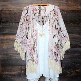 Discount vintage chiffon blouse print - Fashion Women Floral Print Chiffon Vintage Tassel Kaftan Cardigan Tops Blouse Beach Cover Up Dress Lace Kimono Shirt