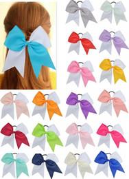 $enCountryForm.capitalKeyWord Australia - 15pcs lot 2019 Hot Sale 7 Inches Woman Girls Hair Bow Elastic Hairband Ties Cheer Bows Ribbon Hair Gum