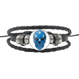 $enCountryForm.capitalKeyWord UK - Simple Leather Rope Beaded Wrap Bracelet High Quality Micronesia National Flag Time Gem Glass Dome Skull Series Button Jewelry For Women Men