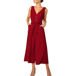 $enCountryForm.capitalKeyWord UK - 3 styles jumpsuit summer overalls for women sexy costume Button Backless High Waisted Long Loose rompers womens Bodysuit F300223