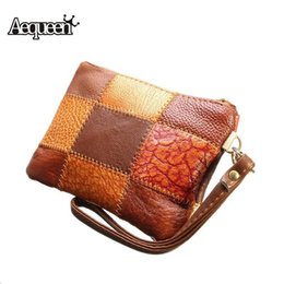 $enCountryForm.capitalKeyWord Australia - Wholetide- Pop Fashion Genuine Leather Women Girls Coin Purse Patchwork Pattern Decorations Change Pockets Cards Bag Wallets Random Colors