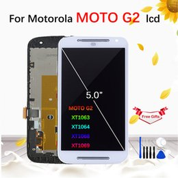 Discount lcd display moto g2 For Motorola MOTO G2 XT1063 XT1064 XT1068 XT1069 LCD Display Touch Screen With Frame Digitizer Assembly Replacement