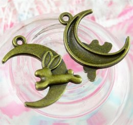 rabbit moon charms NZ - DIY Jade Rabbit Flies To The Moon Charms Vintage Style Old Bronze Color Alloy Jewelry Findings Hot Sale 3 5mpE1