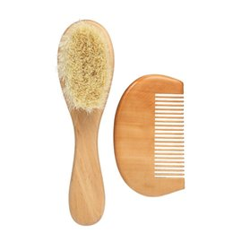 hair comb brush wooden NZ - New Baby Hair Brush Comb Set Wooden Handle Newborn Baby Hairbrush Infant Comb Soft Wool Hair Scalp Massage W6678