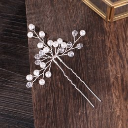 $enCountryForm.capitalKeyWord Australia - wedding hairpins Shiny Wedding pins Gold Silver Crystal Pearl Bride Hair Sticks Queen Jewelry Ornaments Handmade Hair Fork Hair Accessories