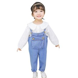overall jumpsuits baby jeans Australia - 2019 Spring Autumn New Cute Wing Patchwork Denim Jumpsuit For Baby Girl Children Blue Cotton Loose Jeans Kids Overalls Ws274
