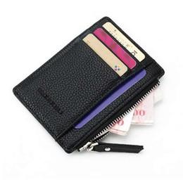 Color Leather Bags Australia - Unisex wallet business card holder pu leather coin pocket bus card Organizer purse bag drop shipping men women multi-color