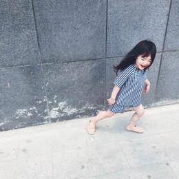 Girl Plaid Shirts Australia - 2019 summer new girl suit cotton plaid two-piece Children's short sleeve shirt shorts
