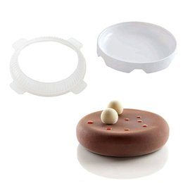 Discount mousse mould DINIWELL Bakeware Pastry Big Disc Design Silicone Baking Pan For Dessert Custard Pudding Brownie Breads Mousse Decoratin