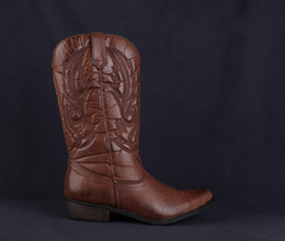 Cowboy Boots For Women Australia - Classic Western Cowboy Boots for Women Pointy Toe Leather Cowgirl Square Heels Shoes Woman Knee High Boots