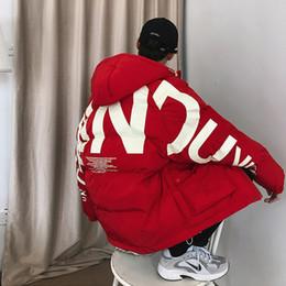 Wholesale korean parka men for sale – warmest winter Men Streetwear Oversized Bubble Jacket Parka Mens Letter Print Hip Hop Fashions Windbreaker Womens Korean Coats