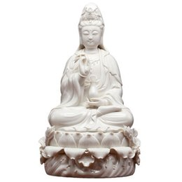 Lotus porceLain online shopping - 12 Inch Lotus Guanyin Bodhisattva Buddha Furnishing Articles Dehua Porcelain Goddess of White Porcelain Porcelain Arts and Craft