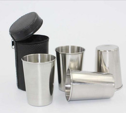 $enCountryForm.capitalKeyWord NZ - 4pcs Set 70ML Stainless Steel Pocket Shot Mini Cup With Case For Wine Beer Whiskey Drink Men's Outdoor Travel Gift