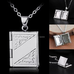 $enCountryForm.capitalKeyWord NZ - 10 Pcs Silver Plated Book Box Locket Pendant Necklace For Women Men Chain Necklace Best Jewelry Gift