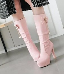 Elegant Heel Snow Boots Australia - New Arrival Hot Sale Specials Super Fashion Influx Custom Plus Velvet Snow Elegant Knight Winter Pink Bow Platform Heels Boots EU34-43