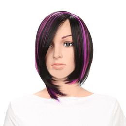 Discount gradient color wig - 2019 new Fashion Wig Short Haircut Curly Color Gradient Wigs Short Synthetic BOBO head oblique bangs Front Human Hair Wi