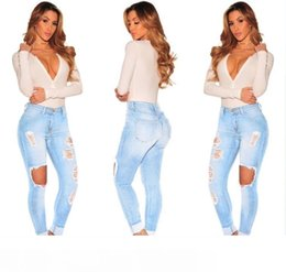 ripped jeans for women hot UK - Hot sale Ripped Jeans Denim Joggers Knee Holes Slim Fit Jeans For Women Blue Rock Star Womens Jumpsuit Destroyed Jeans Boyfriend Pencil