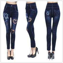 $enCountryForm.capitalKeyWord Canada - 2019 New Fashion Skinny Jeans Women Sexy Hollow Cut High Waist Jeans Elastic Pants Flower Print Denim Legging Street Style