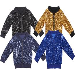 Vente en gros Garçons Filles Bomber Veste Enfants Solide Paillettes Printemps Manteau Enfants Automne Arc-En-Haut Vêtements De Noël Hiver Coton Étincelle Vêtements