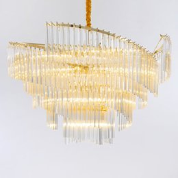 Crystal light strip online shopping - New designer long strip crystal led pendant chandelier lamps postmodern artistic chandelier lights decorative chandelier lighting fixtures