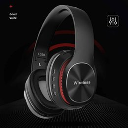 wireless radio headphone Canada - Hot L350 Wireless Bluetooth Headphones stereo Earphones Sports Headsets Support TF Card 3.5mm AUX IN FM Radio w  Mic gaming headsets