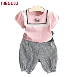 0e0f6cdc1b11 good quality new 2019 han edition white shirts with short sleeves + bar  bowknot haroun pants 2 dresses wholesale D5279 of the girls